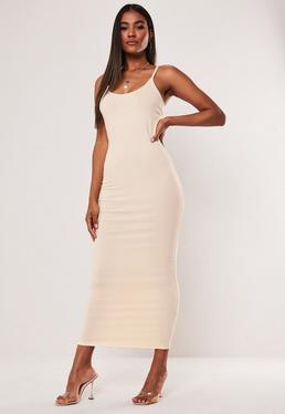 sand strappy bodycon midi dress $20.00