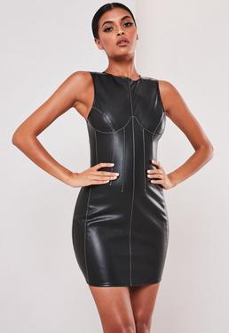 sofia richie x missguided black faux leather contrast seam mini dress $54.00