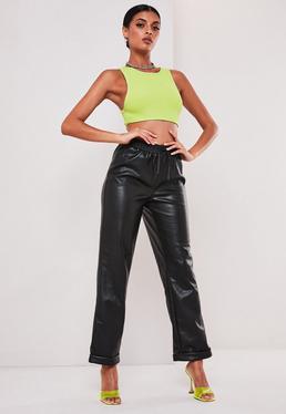 sofia richie x missguided black faux leather joggers $54.00