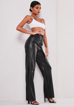 sofia richie x missguided black faux leather pants $64.00