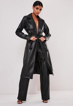 sofia richie x missguided black faux leather trench coat $119.00