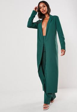 teal co ord duster jacket $64.00