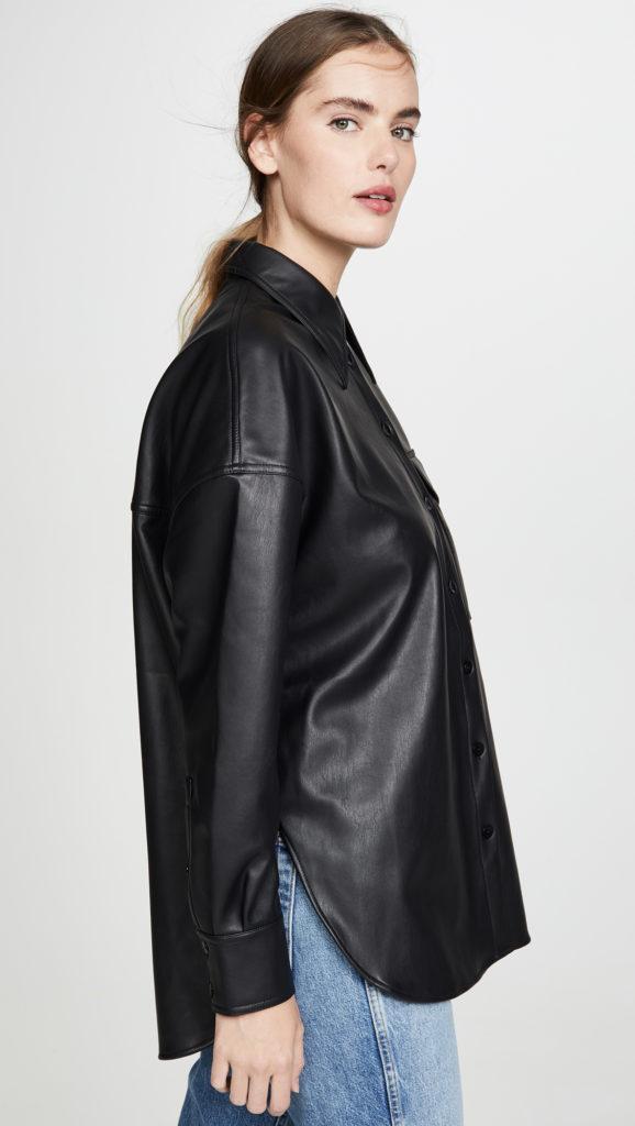 Tibi Utility Faux Leather Shirt $395.00