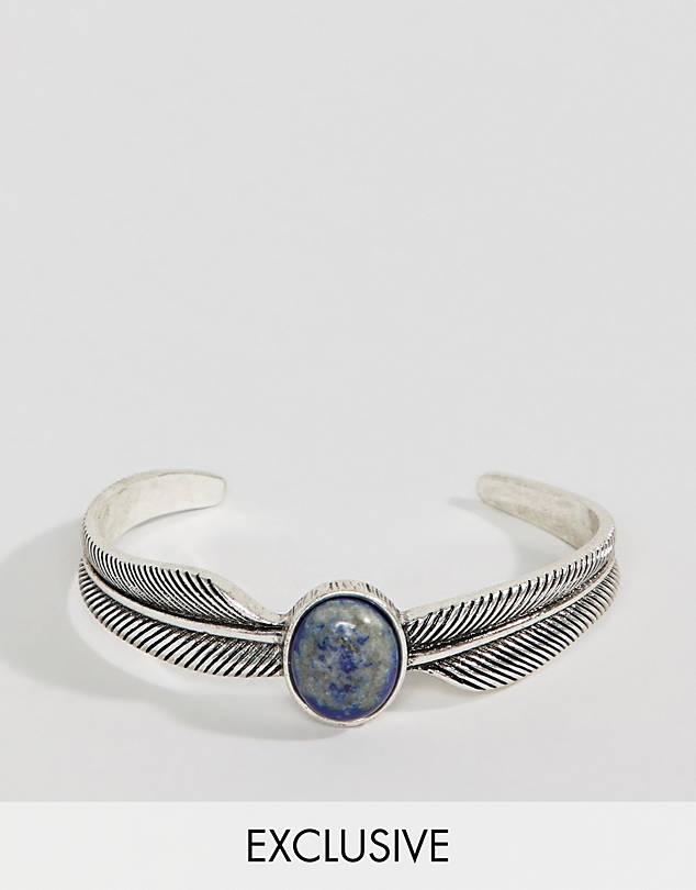 Reclaimed Vintage feather bangle in burnished silver with stone $26.00