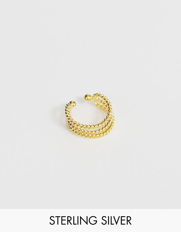 ASOS DESIGN sterling silver with gold plate ear cuff in triple twist design $9.50