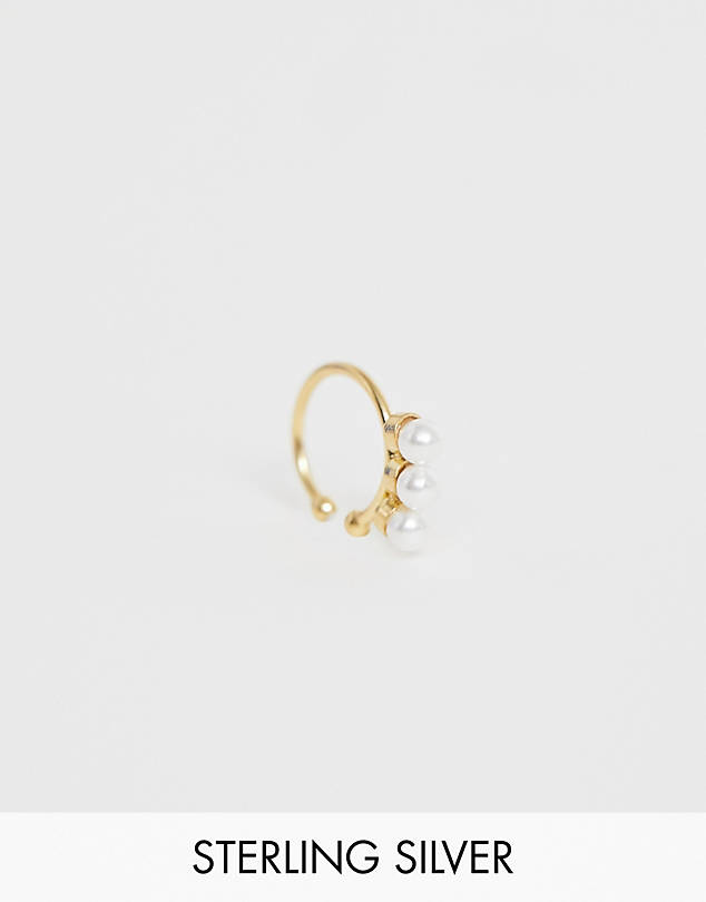 ASOS DESIGN Sterling silver with gold plate ear cuff with triple pearl $13.00