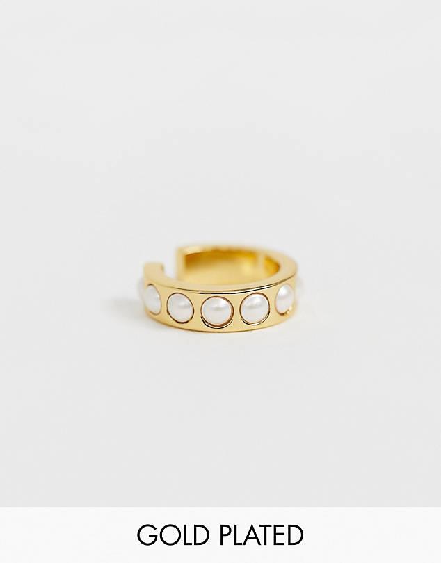 Orelia gold plated faux pearl ear cuff$24.00