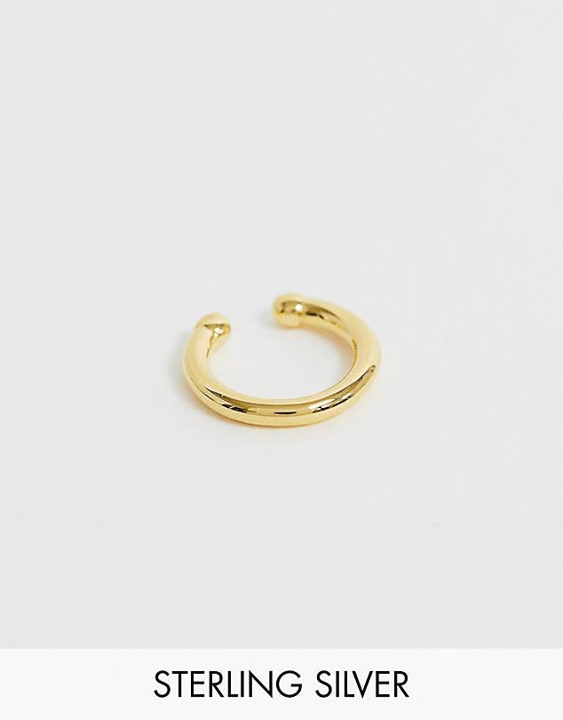 Astrid & Miyu gold plated crossing lines mini ear cuff$35.00