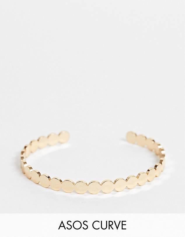 Curve cuff bracelet in disc design in gold tone $9.50
