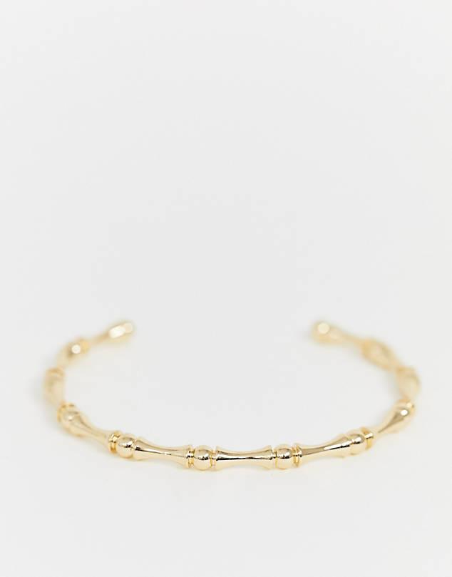 cuff bracelet in bamboo ball design in gold tone $9.50