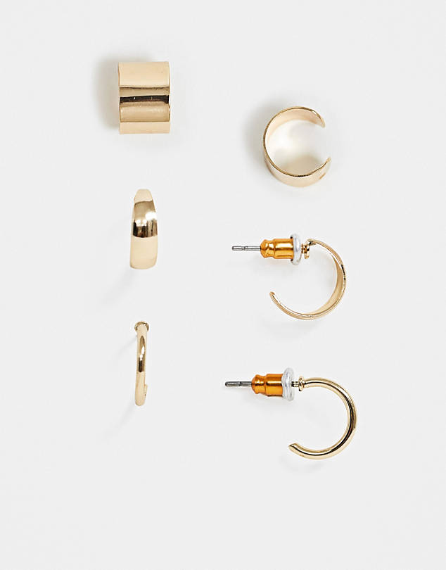 ASOS DESIGN pack of 3 hoop earrings and ear cuffs in gold tone $8.00