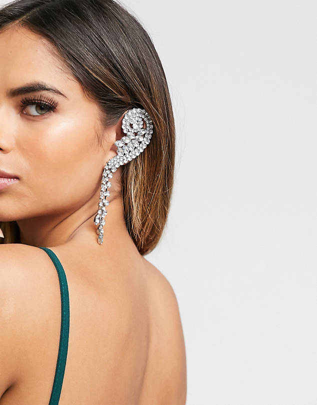 ASOS DESIGN statement ear cuff with crystal drops in silver tone $16.00