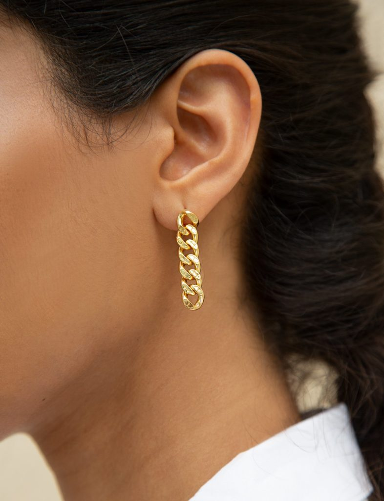 GOLD PLATED CHAIN LINK EARRINGS $79.00