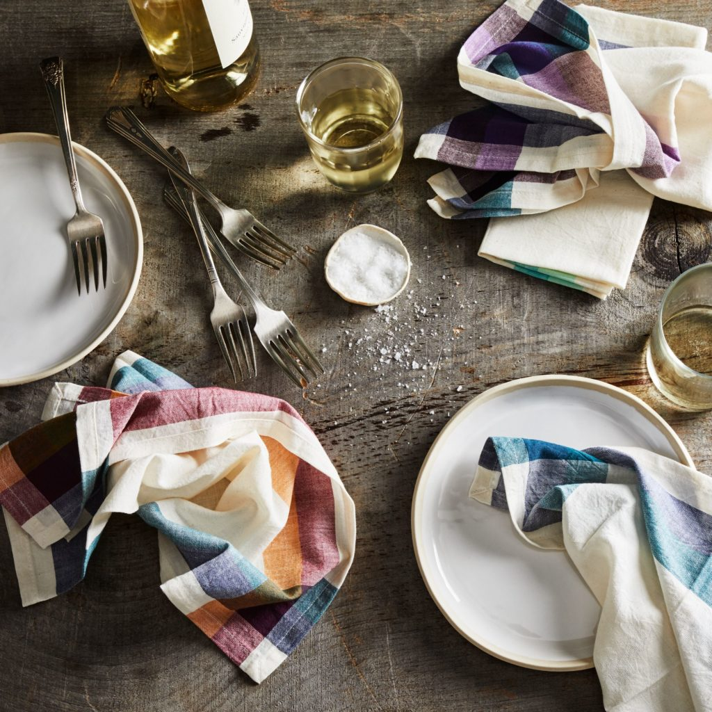 Handwoven Cotton Check Stripe Napkin (Set of 4) $45