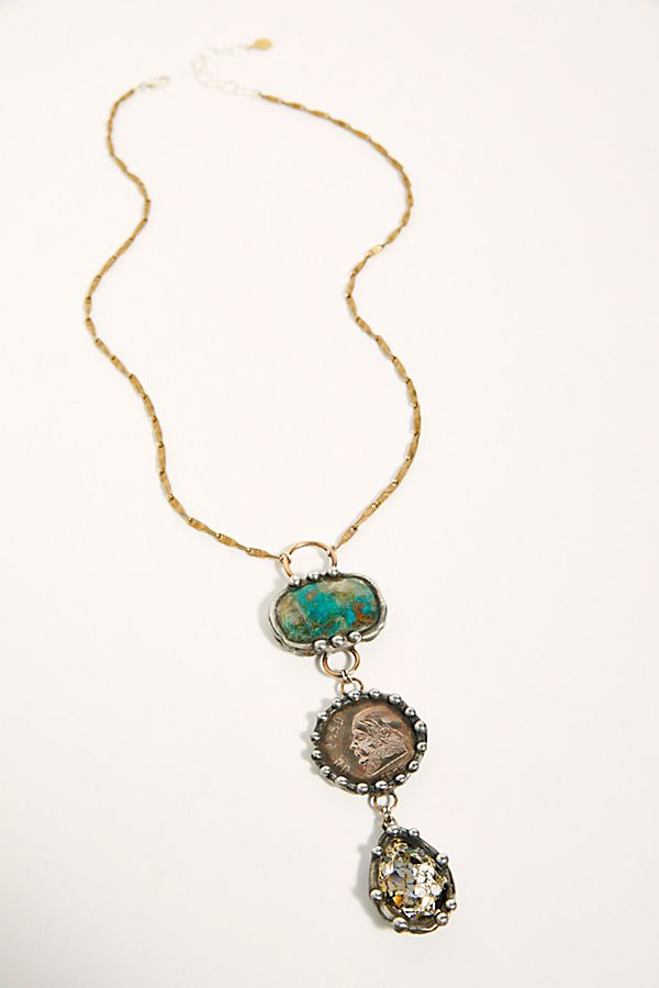 Turquoise Stone Drop Necklace $378.00
