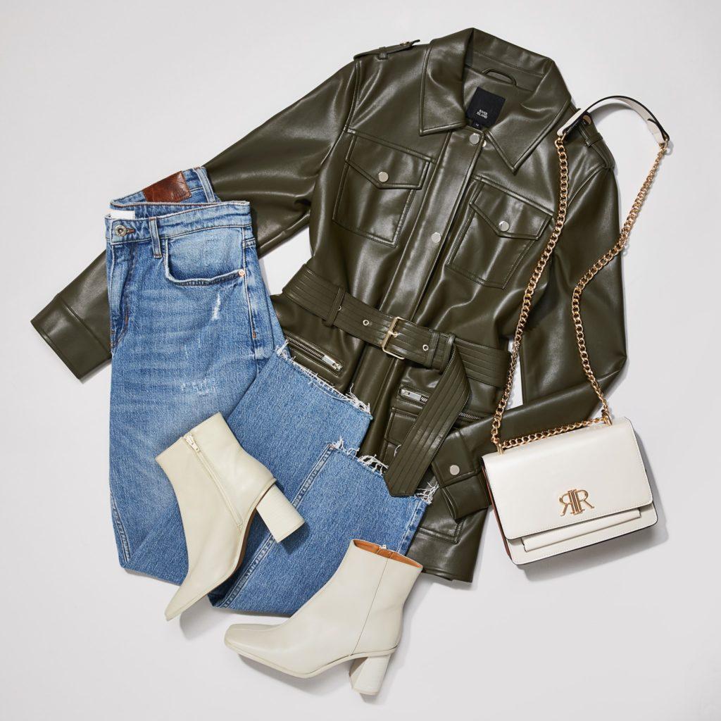 Khaki faux leather utility jacket $80.00
