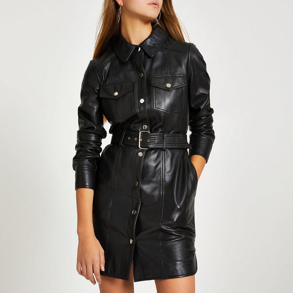Black leather long sleeve shirt dress $335.00