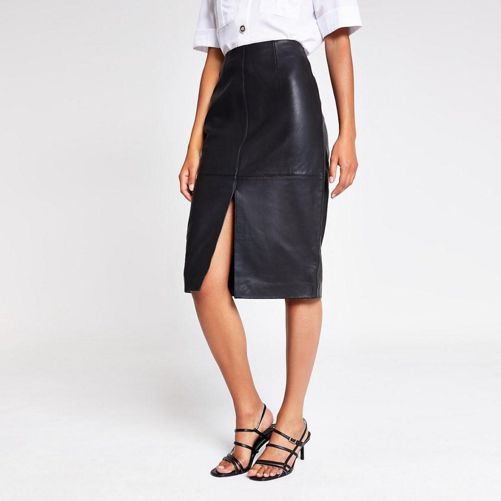 Black leather pencil skirt $245.00