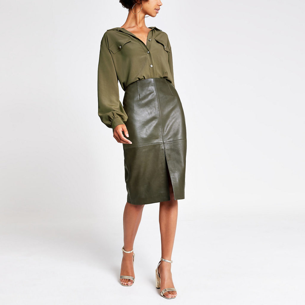 Dark green leather pencil skirt $245.00