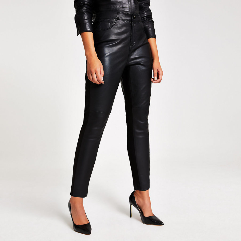 Black leather ponte trouser $245.00