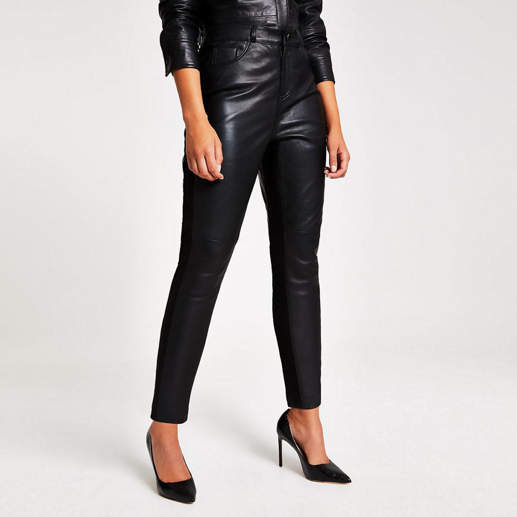 Black leather ponte trouser $245.00