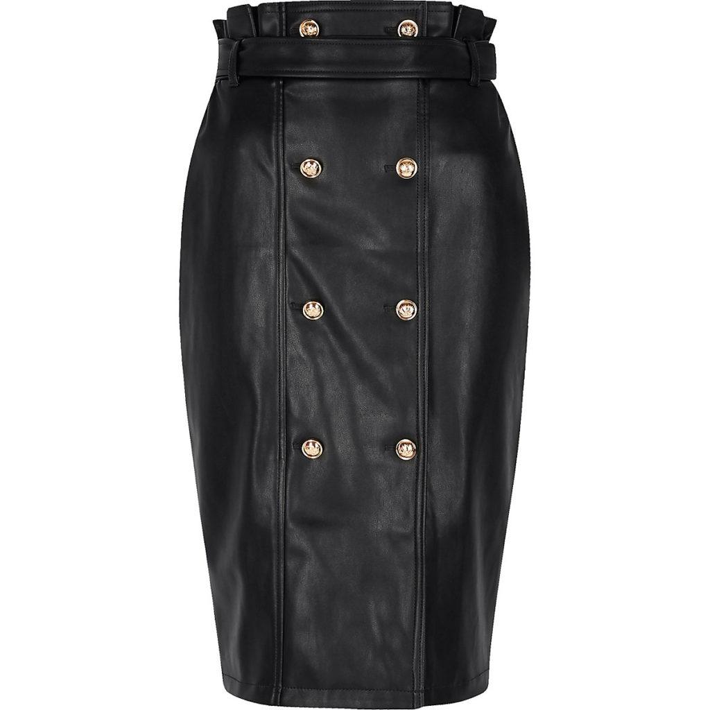 Black faux leather button front pencil skirt $90.00