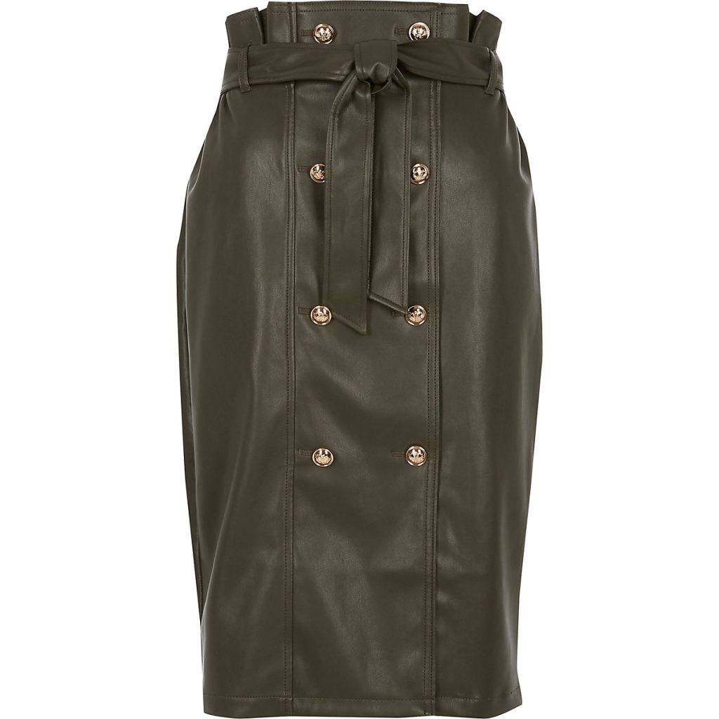 Khaki faux leather paperbag midi skirt $90.00