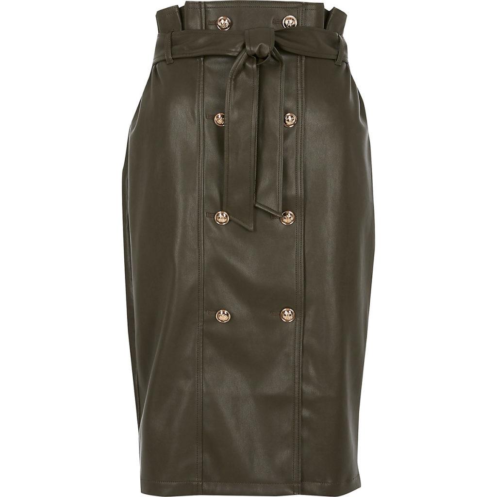 Khaki faux leather paperbag midi skirt $90.00