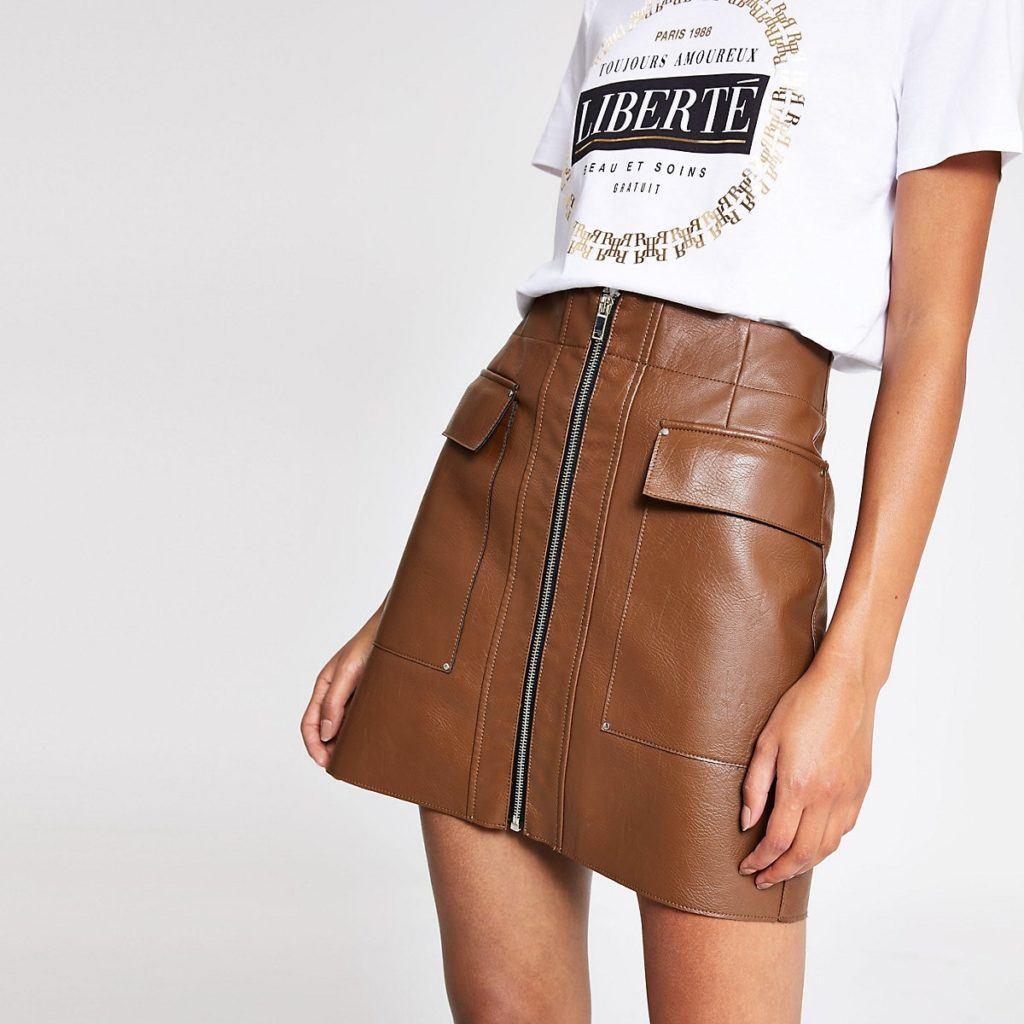 Brown faux leather zip front mini skirt $60.00