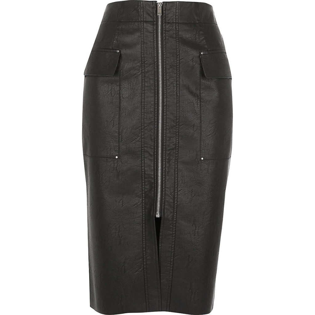 Black faux leather utility pencil skirt $76.00