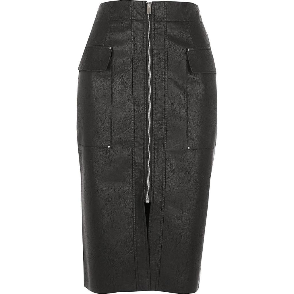 Black faux leather utility pencil skirt $76.00