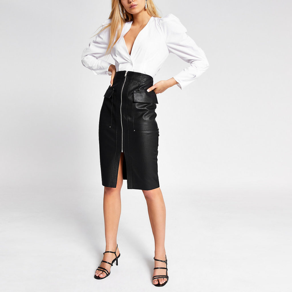 Black faux leather utility pencil skirt $76.00https://fave.co/2VfTBDa