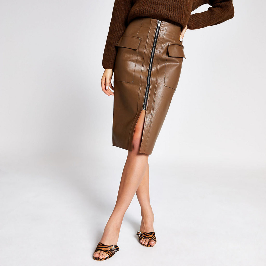 Brown faux leather utility pencil skirt $76.00