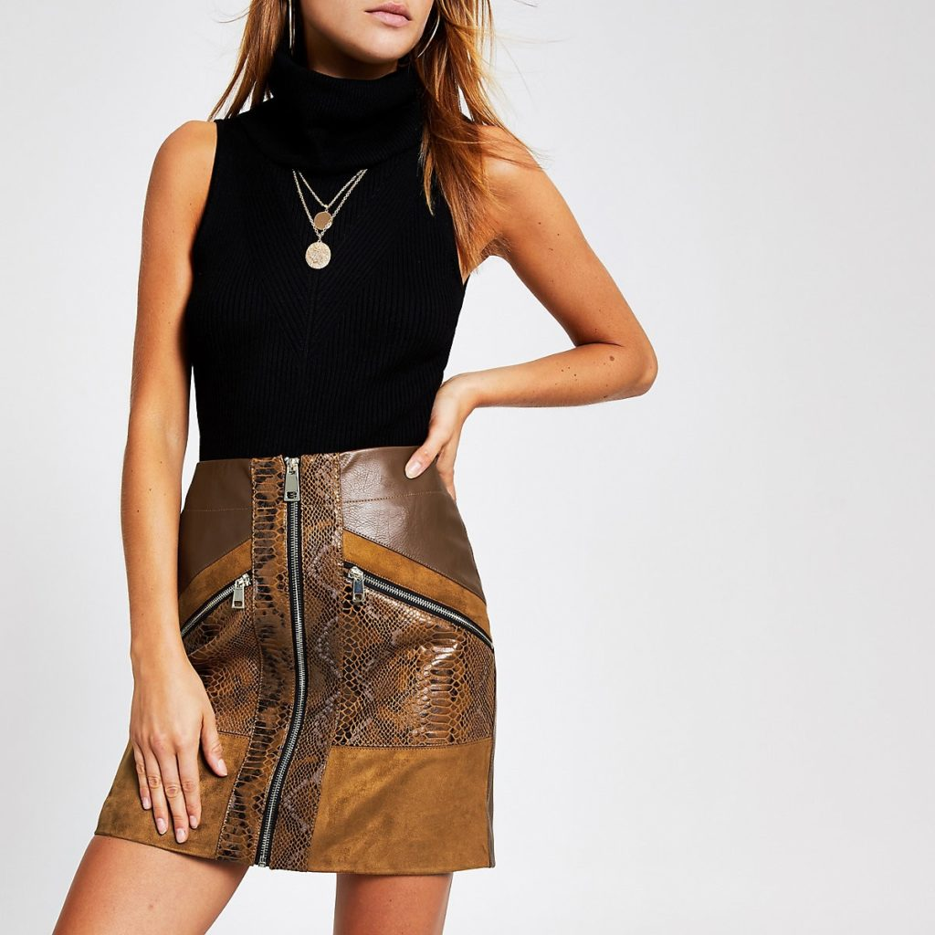Brown snake print faux leather mini skirt $60.00