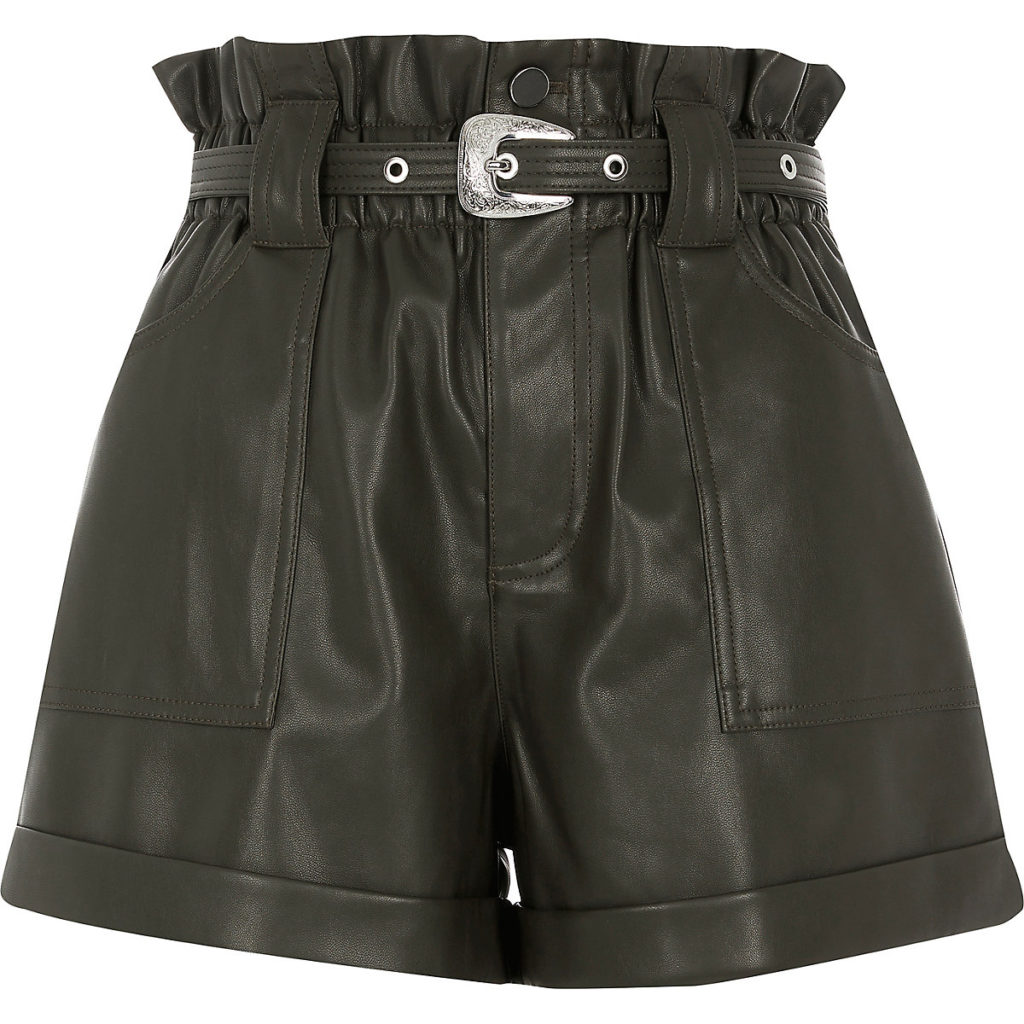 Khaki belted faux leather Mom shorts $70.00