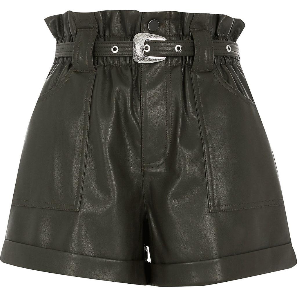 Khaki belted faux leather Mom shorts $70.00