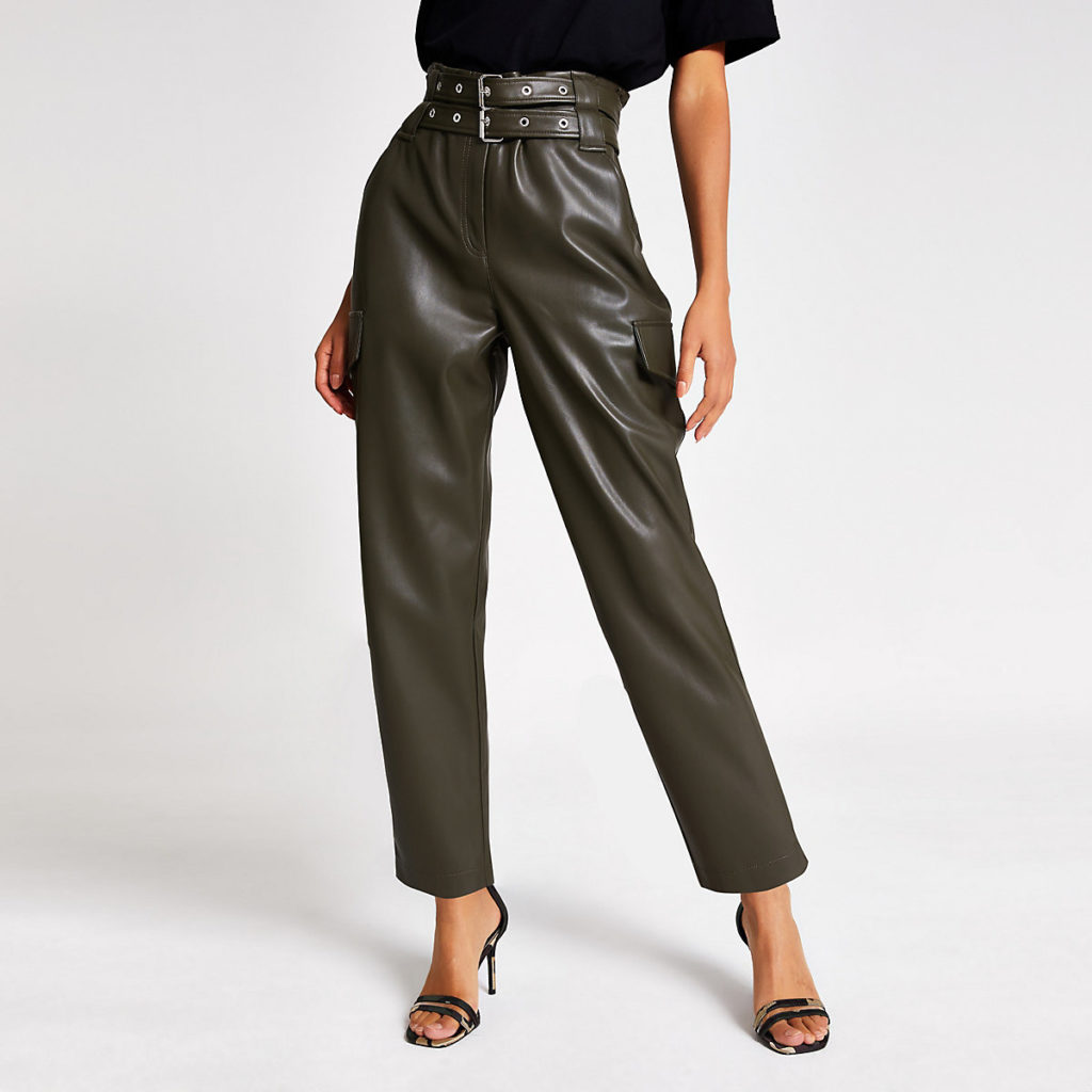 Khaki belted tapered coated trousers $90.00
