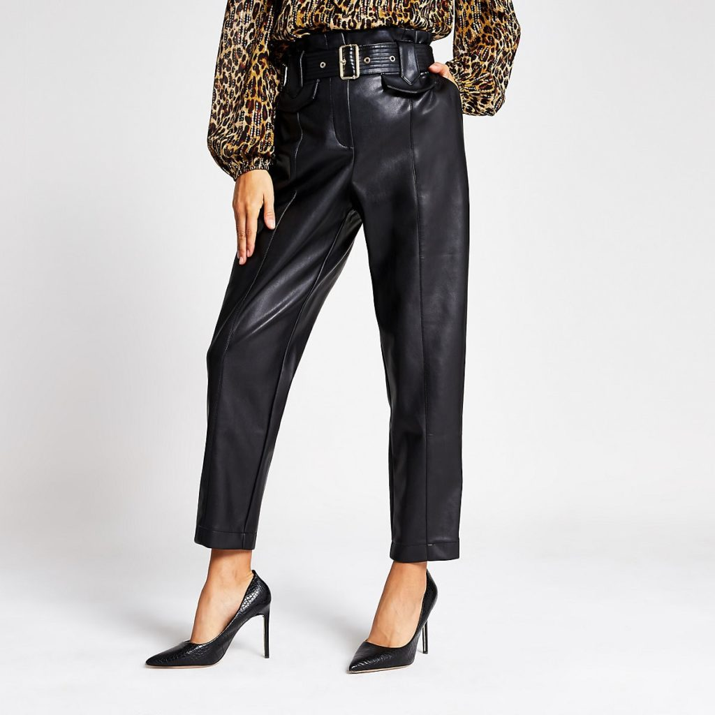 Black faux leather high waist belted trousers $90.00