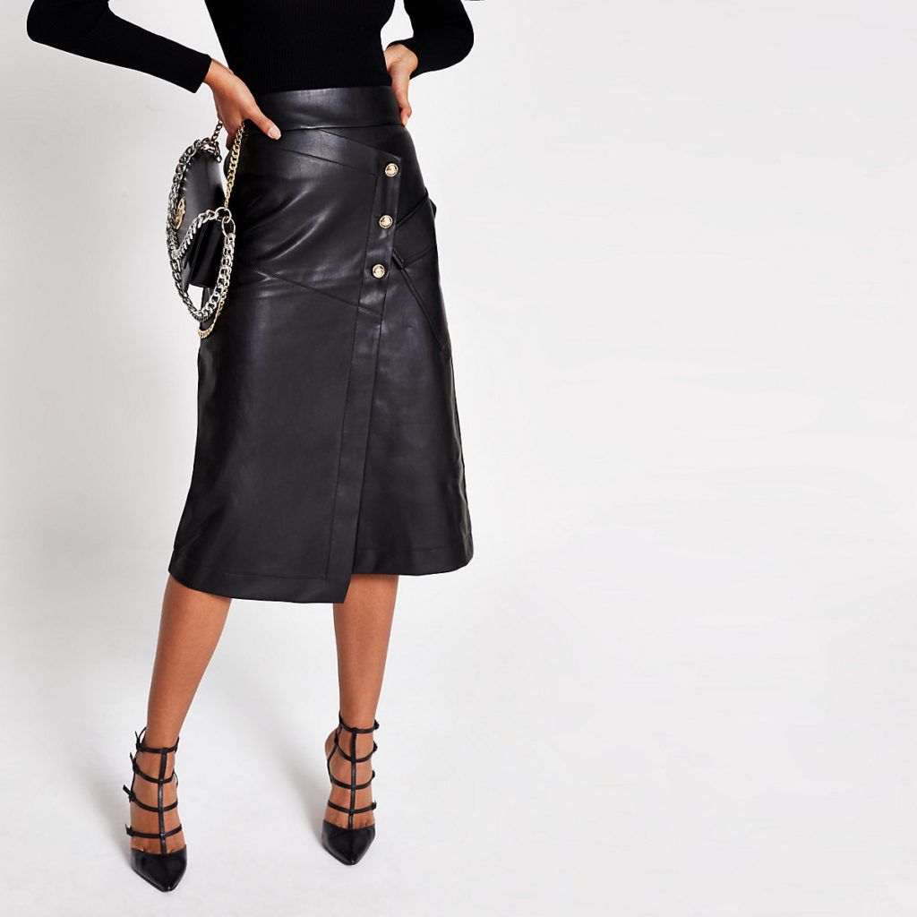 Black faux leather button A line midi skirt $90.00
