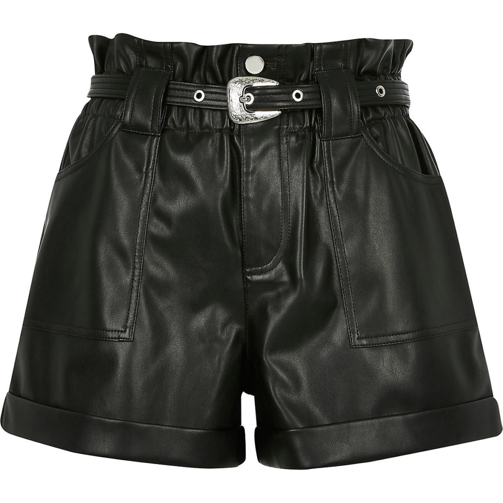 Petite faux leather paperbag waist Mom shorts $70.00