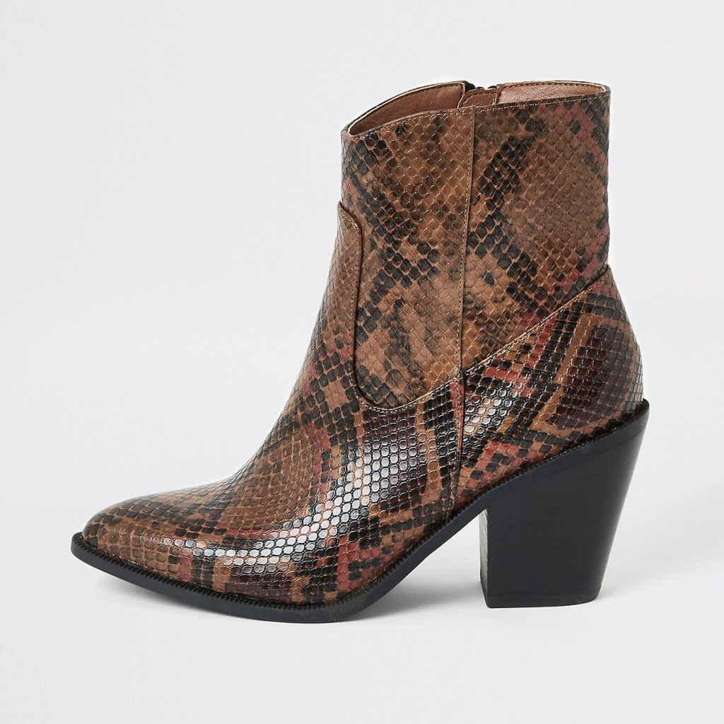 Brown snake print western ankle boots $84.00
