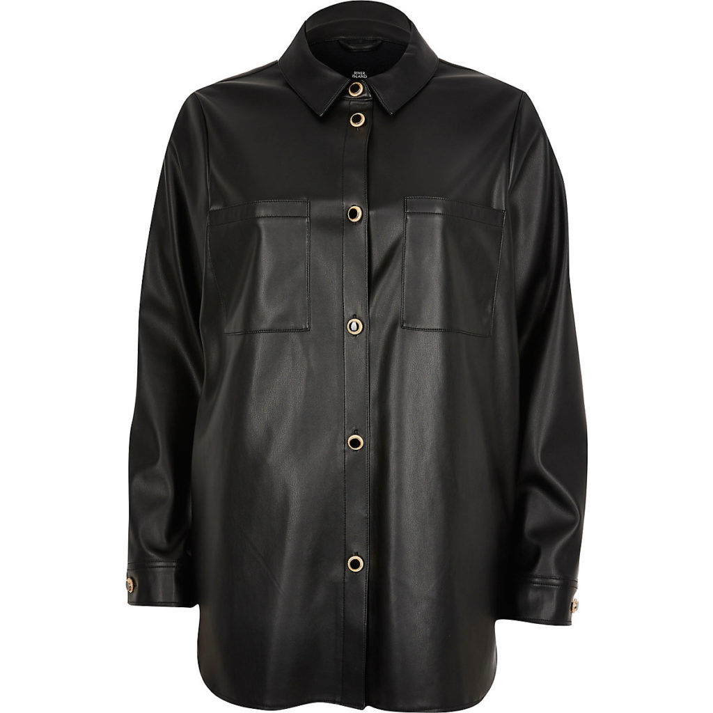 Black faux leather overshirt $76.00