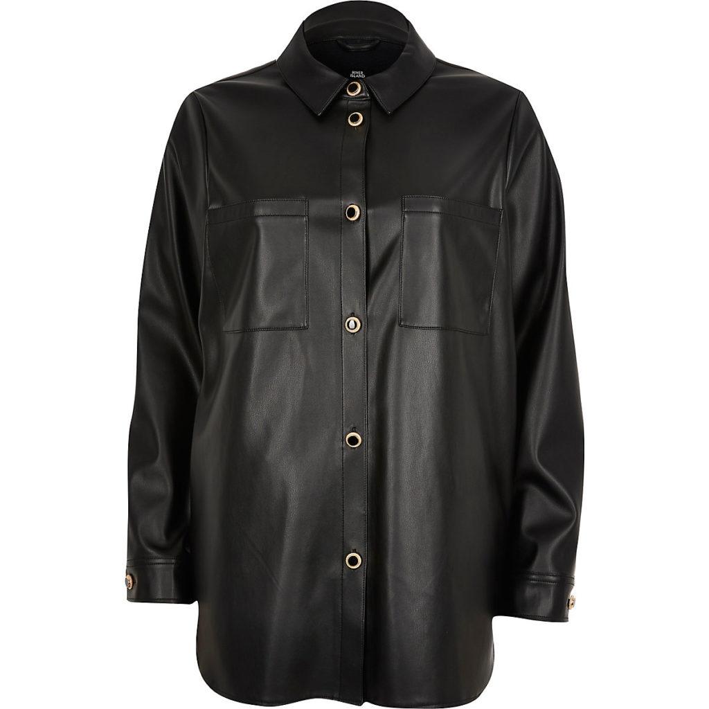 Black faux leather overshirt $76.00