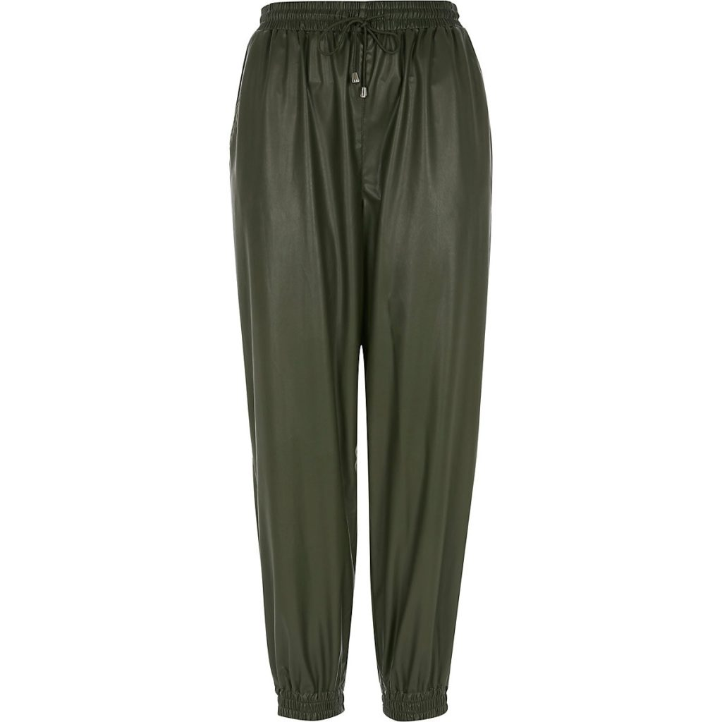 Khaki PU loose fit jogger $60.00