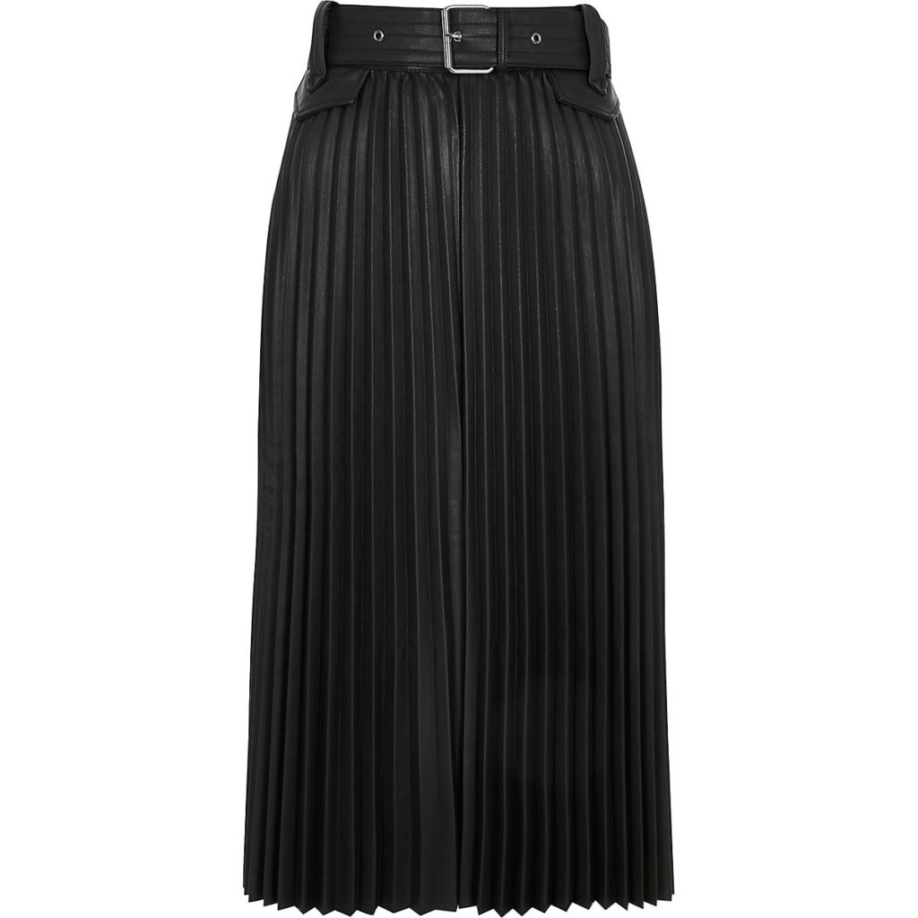 Black pleated faux leather midi skirt $96.00