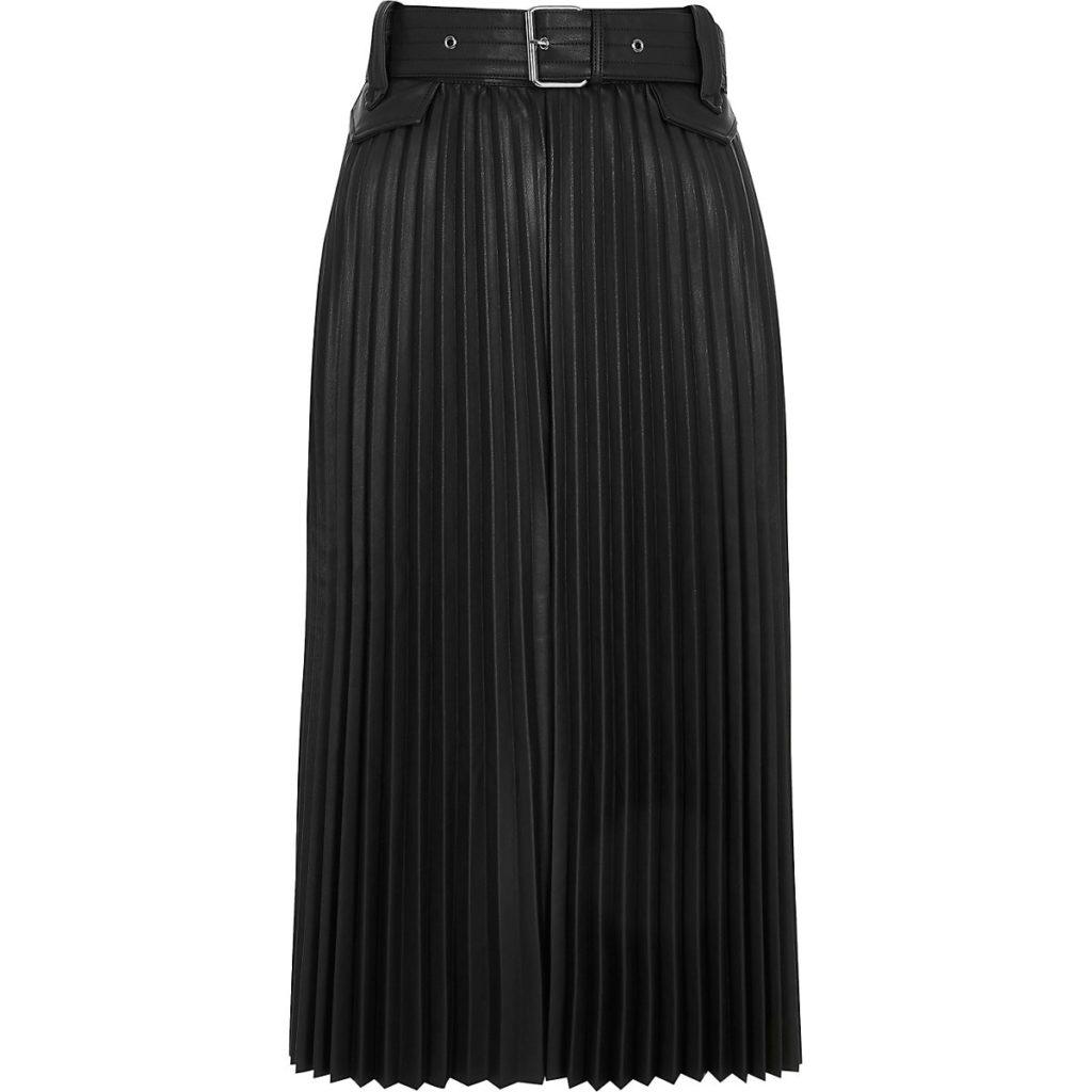 Black pleated faux leather midi skirt $96.00