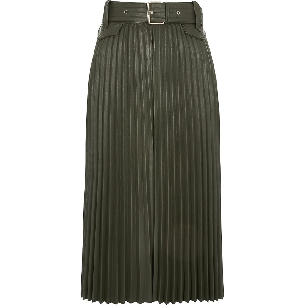 Khaki pleated faux leather midi skirt $96.00