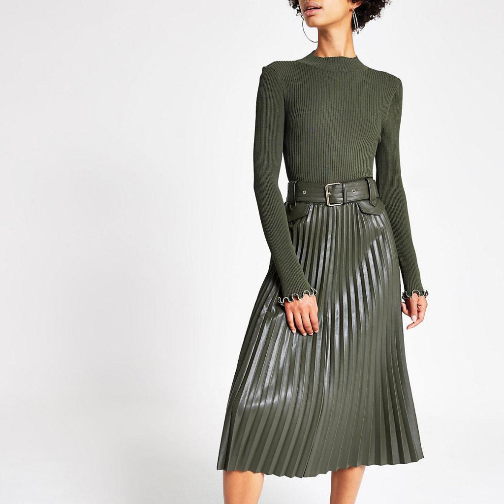 Khaki pleated faux leather midi skirt $96.00