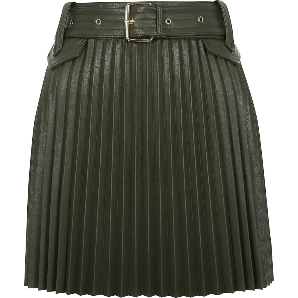 Khaki PU belted pleated mini skirt $70.00