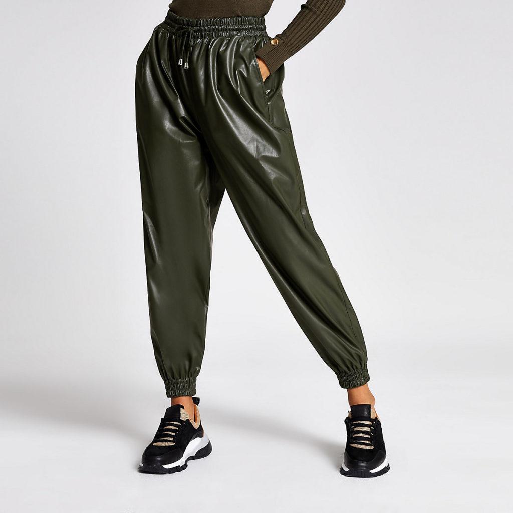 Petite khaki faux leather joggers $60.00